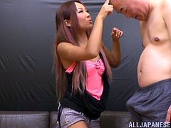 This hot babe and naughty stud gets into a hardcore doggystyle banging action with a hot handjob and titjob in masturbation.