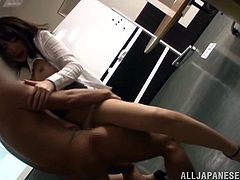 Marvelous Asian dame with small tits in pantyhose awards multiple heavy dicks blowjob before getting hammered hardcore missionary