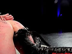 Lezdom bdsm is being punished with electrosex and dildo