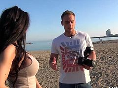 This horny latina big-titted babe gets her juicy ass picked up at the beach in Barcelona for a photo-shoot and she gets shot up her wet pink pussy by a big german cock!