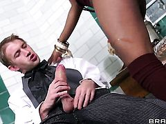Danny D whips out his dick to fuck Black Jasmine Webb