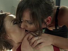 Krissy gets strapped to the table by her transsexual girlfriend. This tranny needs some pussy and has been hunting for it for some time. Tranny goddess Michelle whips out her massive cock and shoves it down into the lady's throat.