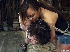 This unlucky slave is tied up and dominated by this beautiful Asian goddess. He is tied in rope and hanged from the rafters. The mistress uses chopsticks to ties up his cock and balls and make him feel as much pain as possible.