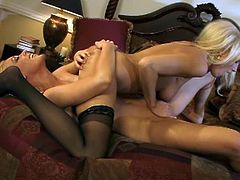 Diana Doll and Kayden Kross are two gorgeous blonde babes with juicy cunts. They are licking each other in 69 and teasing each others clits with their fingers.