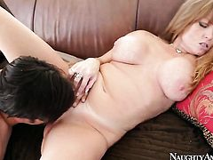 Asian Darla Crane with juicy jugs and trimmed muff offers her beaver to Anthony Rosano