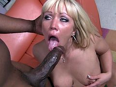 Lustful blonde bitch gets her mouth and cunt banged in interracial clip