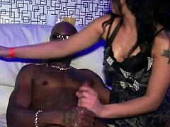 Hot tempered white whores in sultry outfits and stockings wide their legs to get their pussies tongue fucked and boffed in missionary style. Watch these babes sucking and fucking big cocks at drunk party sex in a club.