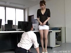 Sexy Office Girl in Miniskirt and Pantyhose sleeps on her desk her boss shows up beneath the desk and admires her Hot Ass
