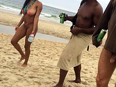 Beautiful black girl at the nude beach