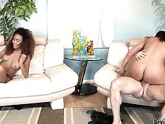 Kendall Foxx keeps her mouth wide open to take John Strongs sausage deep down her throat