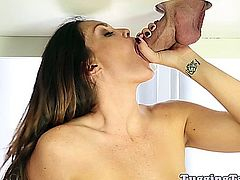 Bigtit CFNM brunette sucking his cock at the tugging table