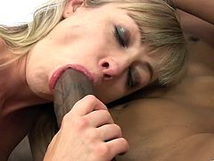 Alluring blonde cowgirl with natural tits getting her shaved pussy fingered wildly before getting her ass screwed hardcore