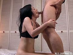 Impassioned mature Asian with long hair getting her hairy pussy fingered then gives a fantastic blowjob before getting hammered doggystyle