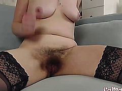 Hot full bush hairy blond milf Louise with sexy glasses