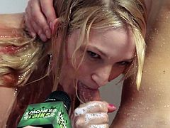 what will these girls do for a little extra cash. The reality show Money Talks answers that tough question. This cute blonde agrees to be filmed sucking of her boyfriend in the shower. Anything for a little bit of extra cold hard cash.