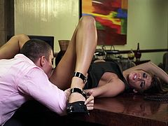 Marvelous brunette in high heels getting her her hairy pussy licked before enjoying being feasted hardcore doggystyle till the he cums in her mouth