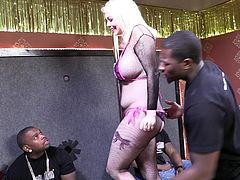 Busty blonde Alice Frost tries her best to please a few black dudes