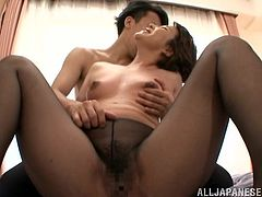 Mature Japanese Hottie Gets Her Pantyhose Ripped And Her Pussy Banged