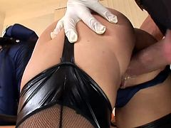 Madison Parker takes a hard cock in her tight ass while investigating a crime scene.