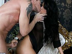 Teen Bettina Dicapri gets a nice slit fuck in steamy sex action with hot man