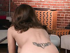 Sabrina Maree touches her moist beaver after stripping