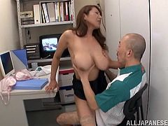 Vivacious Japanese milf with long hair and stunning natural tits moaning while getting fingered then screwed in public office