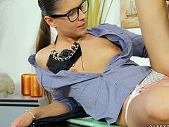 Fine looking college lesbian in glasses enjoying her pussy being licked before getting worked on using toys while moaning in a close up shoot