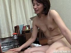 Asian bitches are lovely and wild in bed no matter their age. The Japanese mature lady in the video sucks her partner's cock with greedy passionate movements. Click to see the brunette slut fucked hard from behind and with her legs spread widely in her hairy juicy cunt. Don't miss the exciting details!