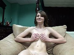 Seductive amateur solo model cowgirl with natural tits, long hair and shaved pussy in thongs in sensational closeup show