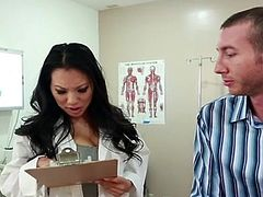 Asa Akira is the Bigtitted Oriental doctor who wants to help her patient release A swelling inside his penis.  She bares down and bonks her married patient inside order to him out