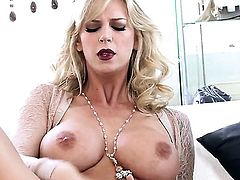 Brooke Banner with huge melons and trimmed twat cant stop masturbating