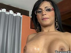 Black cock for big tits tranny. This sublime petite shemale gets ass fucked bareback and she is loving every moment of this shameless experience before the camera.