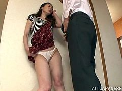 horny japanese wife with long hair and nice ass craving for a cock gives nasty blowjob before being banged hardcore upskirt