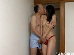 Incredible Japanese wife with long hair and terrific natural tits moaning while getting her pussy sucked then pounded hardcore