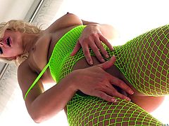 Fishnet blond bitch Anikka Albrite gets her mouth and twat fucked deep