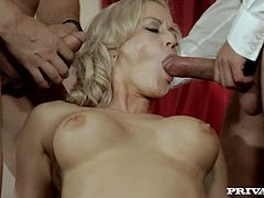 Bitchy blond haired hooker takes on three staff dicks at once