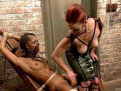 Are you into lesbians and bdsm activities? A dominant redhead punishes her ebony lover just for the art of it. She has tied her strongly. The brunette slut finds herself totally helpless. None can hear Marie's moaning, as she is wearing a red ball gag. Click to enjoy the kinky scenes!