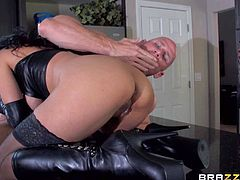 sexy milf Isis Love turns herself into dominatrix and takes advantage of guys in the kitchen the way she likes it. She rides on top of fat hard dick in front of helpless older man.