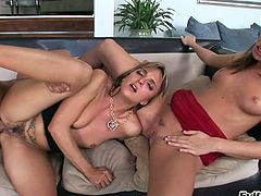 Dark haired hungry sweeties enjoyed dirty 3 some with brutal stud