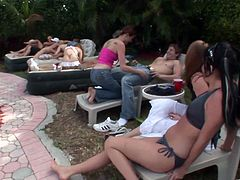 Outdoor pool banging in a naughty hardcore group orgy