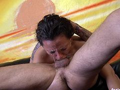 Brynn gets her throat fucked really hard. She is forced to gag on a big cock and she can barely breathe anymore.