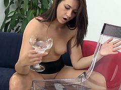 Adorable cutie is seen teasing and she is about to drink a cocktail of pee when she accidentally waste some. So she started masturbating for her to refill her pee drink.