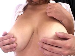 lovely japanese cowgirl with big tits and wet t-shirt enjoys her tits teased nicely then she gives hot titjob in hardcore reality