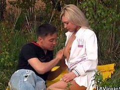 Cute teen couple tries outdoor fuck