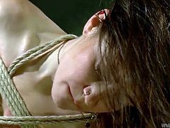 A brown long-haired bitch is punished without mercy by her dominant partner. Freya has been strongly tied up with rope and let hanging from the ceiling. Click to see her ass and horny pussy spanked well. Relax and enjoy the game!