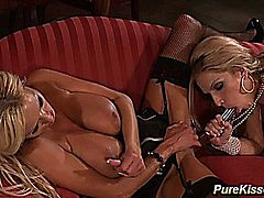 One appetizing blonde plays with her immense cans fondling them with oil. 