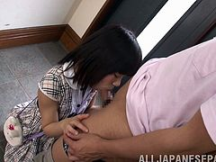 Amazing Asian teen in sexy panties thrilled as she gives a terrific blowjob then yells as she fingers her pussy before giving a handjob