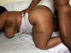 This Bbbw girl gets a black cock to suck on and when she lays down on him to fuck, he almost disappears in this free tube video.
