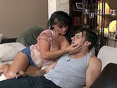 Indianna Jaymes is the milf nearly monster tits.  She is Hot and ready to fuck, but A only private part around is her sons buddy so she bares down and sits on his cock.