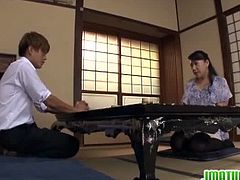 Younger, fresh dick is what she wants. Watch this chubby mature Name Koitoka makes the most out of her vacant time fucking this lucky japanese guy while her daughter is watching.